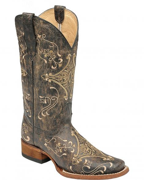 Circle G Embroidered Cowgirl Boots Square Toe (by Corral)