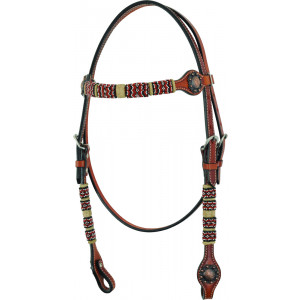 Country Legend Rawhide Terra Beads Browband (medium oil)