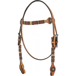 Country Legend Rawhide Terra Beads Browband (light oil)