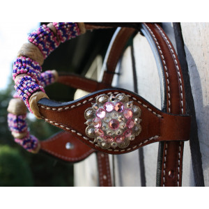 Country Legend Rawhide Pink Beads Double Ear  with real Swarovski Concho's (medium oil)