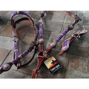 Country Legend Rawhide Pink Beads Browband Set with real Swarovski Concho's (medium oil)