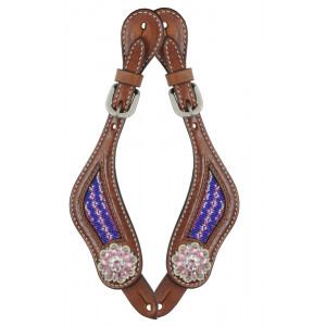 Country Legend Rawhide Pink Beads Spurstraps / Sporenriempjes with real Swarovski Concho's (medium oil)