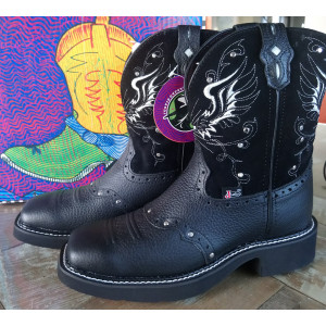 Justin Gypsy Black Wing, Square Toe met Studs